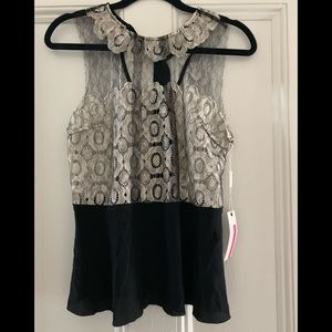 Tracey Reese Black & White Silk and Lace Top, Sz S